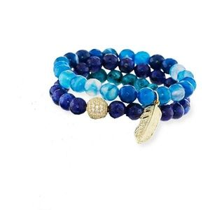 Panacea Blue Stone With gold Feather Stretch #5